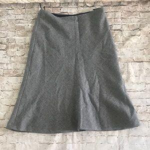 Banana Republic tweed wool skirt work winter gray